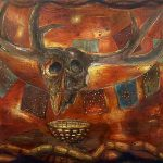 Red Deer Skull with Prayer Flags